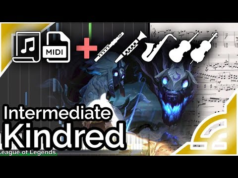 Kindred login theme (further simplified ver.) - League of Legends (Synthesia Piano Tutorial)