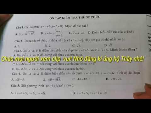 Bài tập trắc nghiệm Kiểm tra Số phức( tiếp theo)