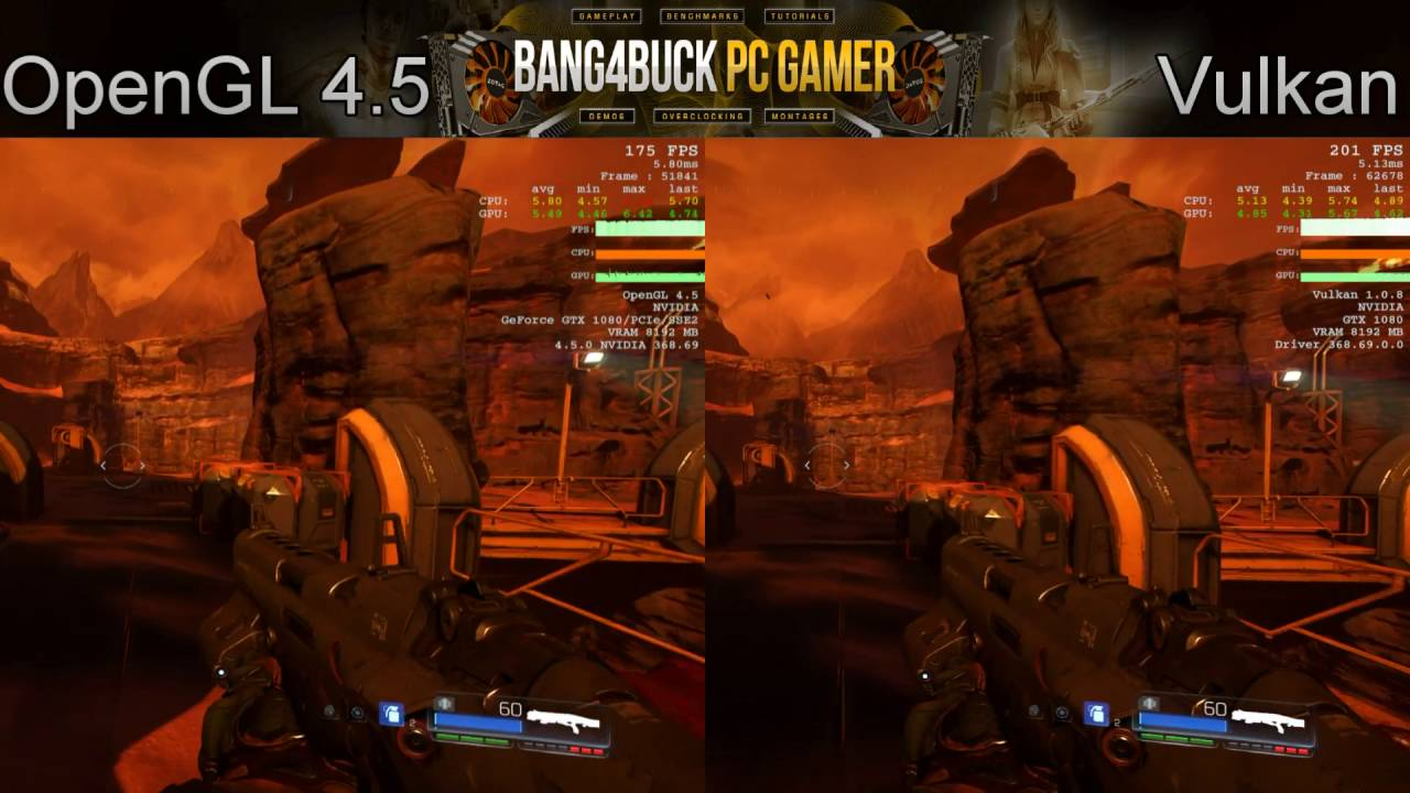 Doom OpenGL 4 5 VS Vulkan Nightmare Settings 1080P | GTX 1080 | i7 5960X  4 4GHz
