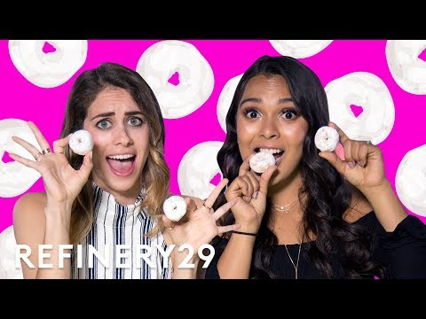 Natalie's Outlet Does Powdered Donut Challenge With Lucie Fink | YouTube Challenges | Refinery29