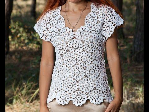 видео: Как связать блузку.Кофточка летняя - 1 часть - crochet blouse summer - вязание крючком из мотивов