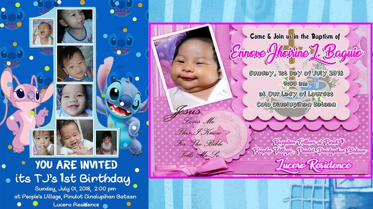 1st birthday and christening invitation i psd link below