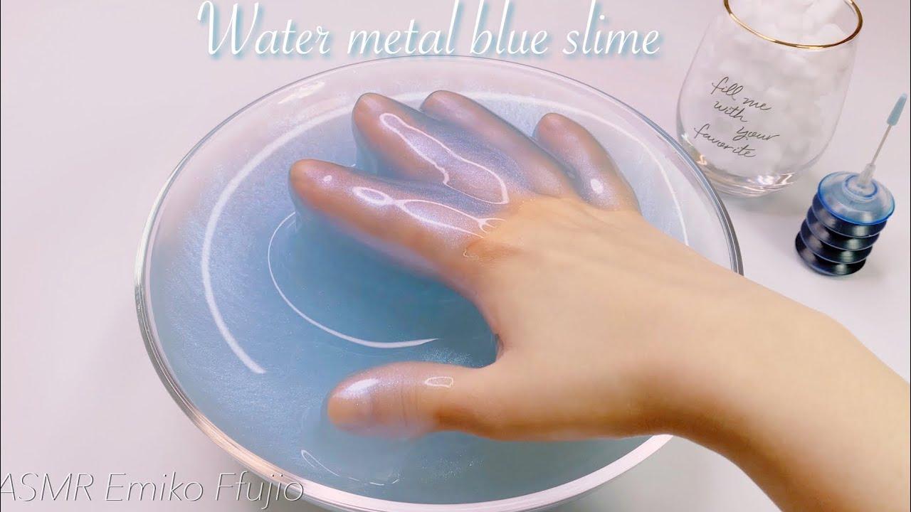 【ASMR】💫タプタプギャラクシーパールスライム&メラミンスポンジ💦【音フェチ】Water blue pearl slime 블루 펄 물 슬라임