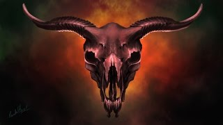 Digital Painting Occult Goat Skull