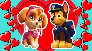 paw patrol chase and skye love   2016 coloring page for kids   hd new 2016
