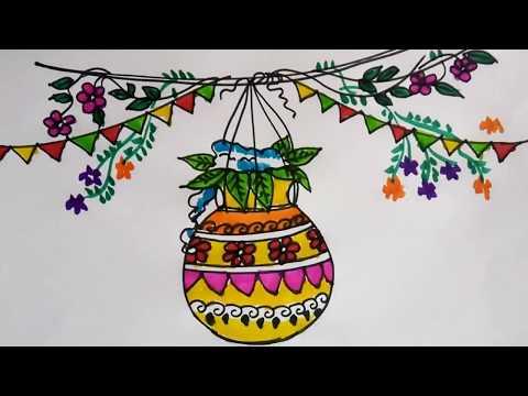 Janmashtami Dahi Handi Drawing For Kids Easy School Project Idea