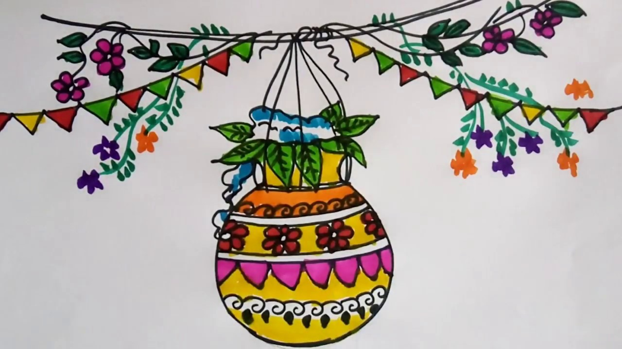 Janmashtami dahi handi drawing for kids easy school project idea