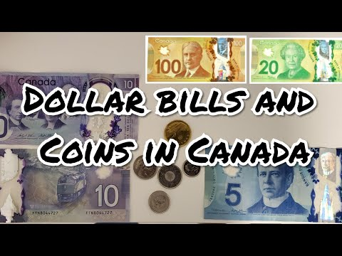 Dollar Bills And Coins In Canada