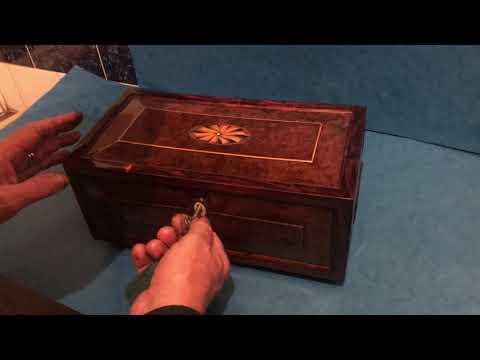 Antique Yew Wood Jewellery Box
