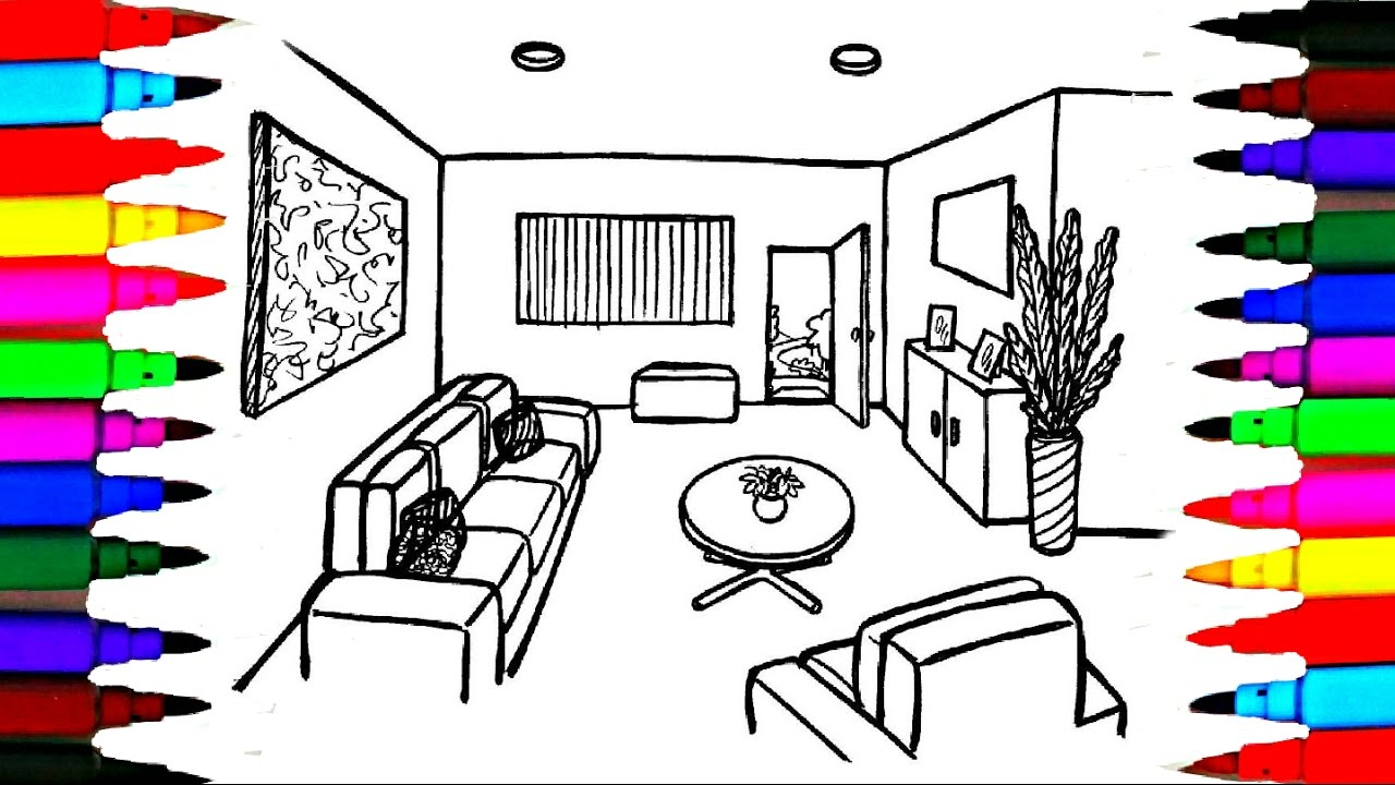 coloring pages simple living room - photo#25
