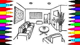 Coloring Pages Living Room l Dining l Bedroom l Lounge Drawing Pages l Learn Rainbow Colors