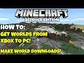 Minecraft Bedrock How To Transfer Worlds From Xbox One To Windows 10 and Make World Downloads! PE