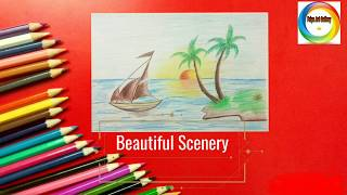 How to draw scenery of Island with water colour step-by-step