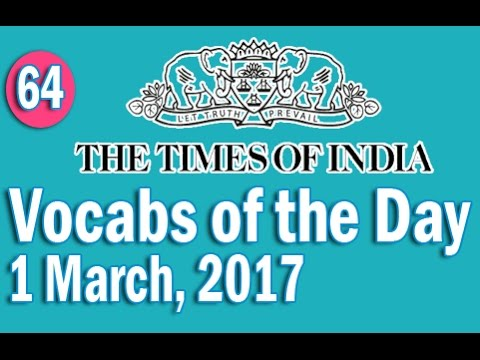 The Times Of India Vocabulary (1 March, 2017) - Learn 10 New Words with Tricks | Day-64