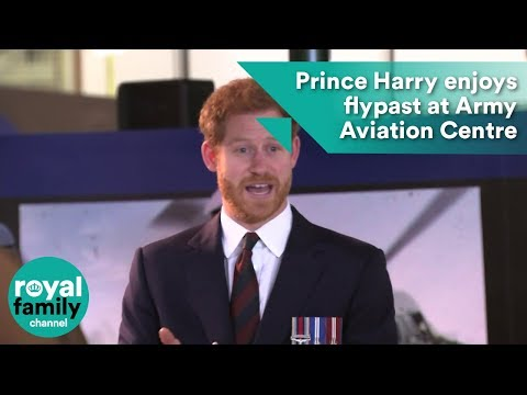 Prince Harry enjoys flypast at Army Aviation Centre