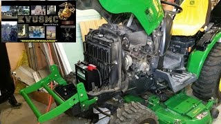 Installing Replacement Battery & Radiator Cleaning On A John Deere 2320 By KVUSMC