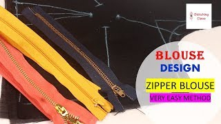 Blouse designs Zipper Blouse cutting and stitching, New model blouse design, neck designs latest