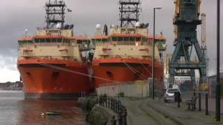 Offshore Vessels Toisa Explorer and Toisa Envoy at Sunderland 19th January 2015