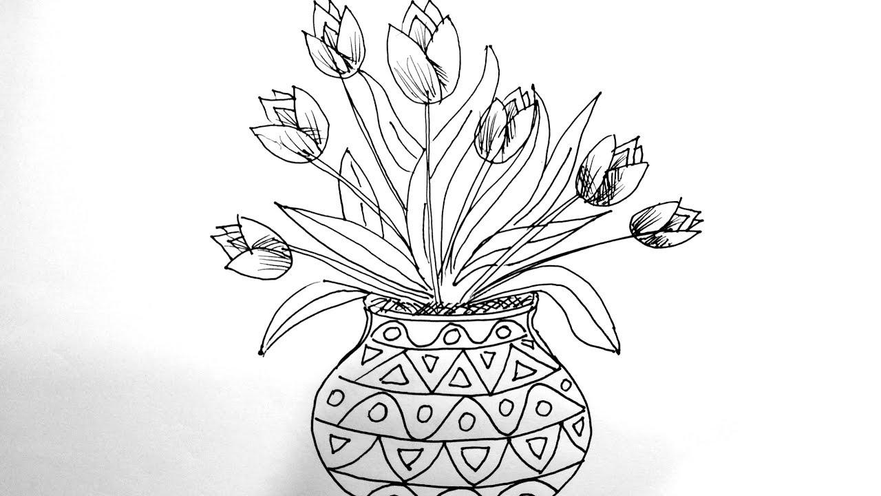 Cara Melukis Gubahan Bunga Tulip