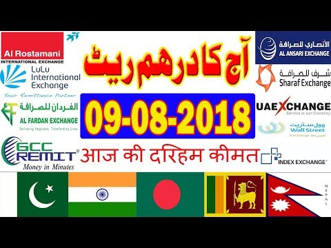 09-08-2018 UAE Dirham (AED) Rates - Hindi/Urdu | INDIA | Pakistan | Bangladesh | Nepal
