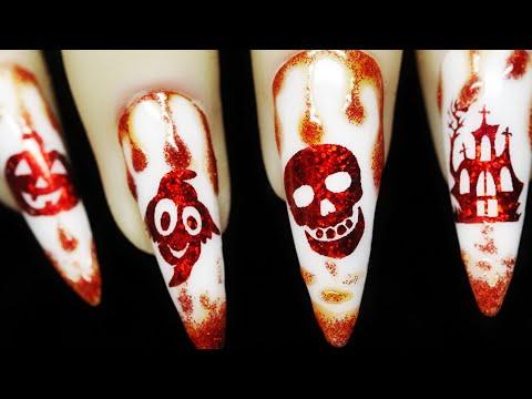How To Create Drip Red Glitter Pumpkin Ghost Skull House Halloween Foil Water Decal Nail Art Design