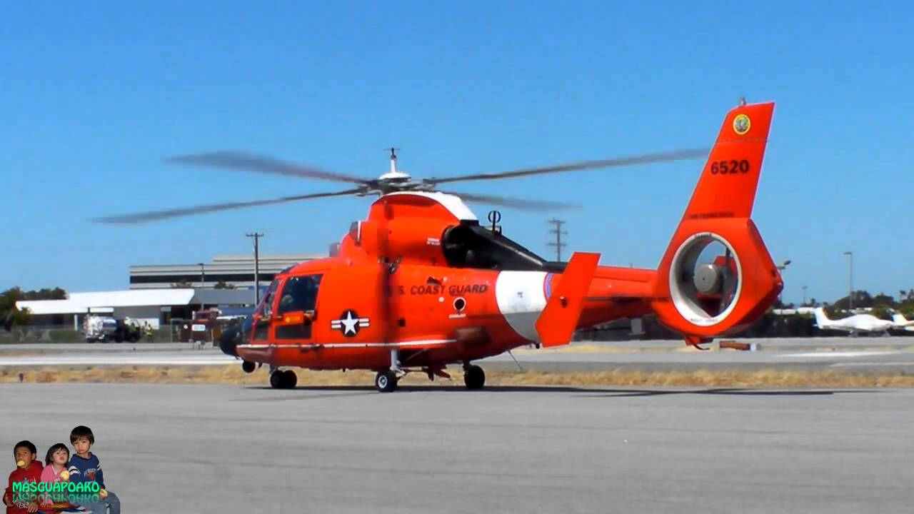 Hh 65 Dolphin United States Coast Guard Helicopter Take