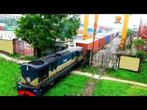 A Container Freight Train departing Dhaka Kamlapur Inland Container Depot ICD