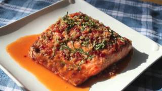 Food Wishes Recipes - Garlic Ginger Salmon Recipe - Grilled Salmon With Garlic, Ginger And Basil Sauce