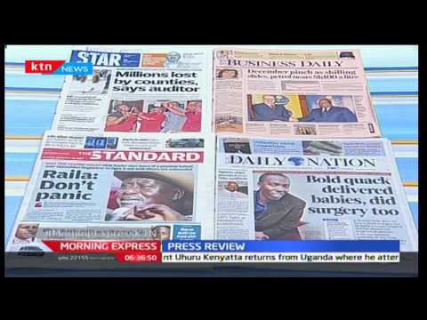 Major headlines on Kenyan newspapers