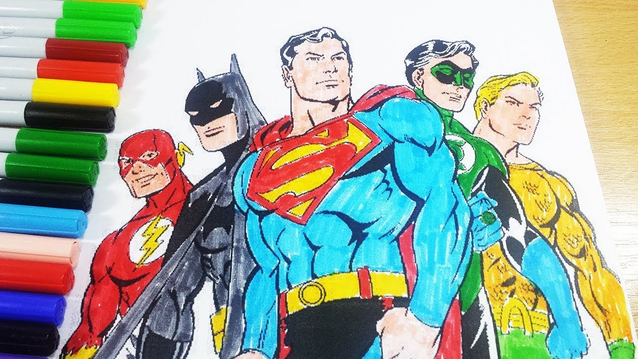 Justice League Coloring Pages - Superman Batman Flash Green Latern ...