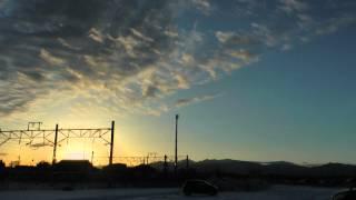 白河だるま市2014 夕日に輝く小峰城前臨時駐車場 「白河だるま市は、約...