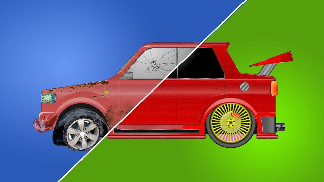 Красивый тюнинг машин - моем, красим и улучшаем машинки в гараже мультик для детей