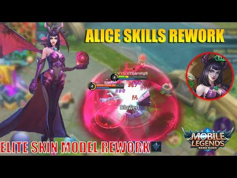 QUEEN OF THE APOCALYPSE ALICE REVAMP AND ELITE SKIN MODEL CHANGES GAMEPLAY - Mobile Legends