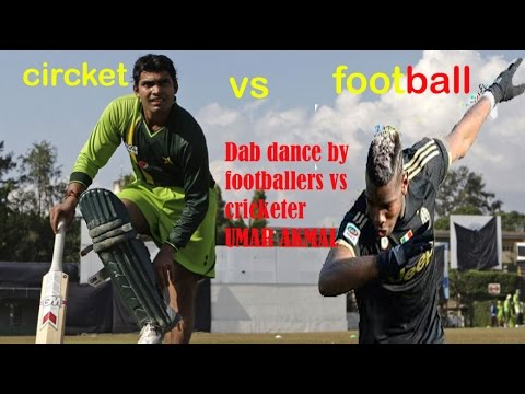 dab by footaball players vs cricketer umar...