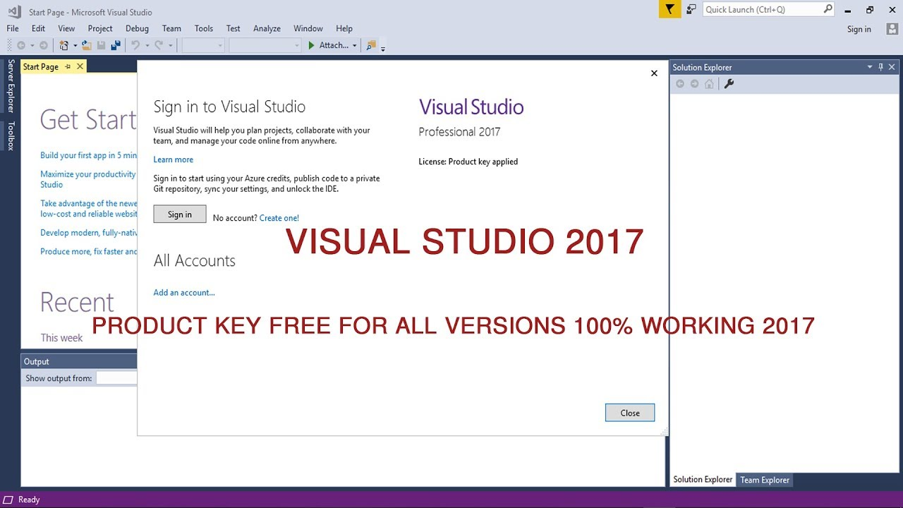 Visual Studio 2017 product key free for all versions 100% working 2019