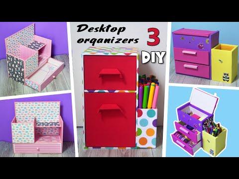 3 DIY How To Make Colorful Desktop Organizer ||  Cardboard Organizers