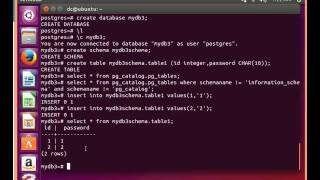 Postgresql tutorial 001:create database,schema,Insert,delete,drop,truncate