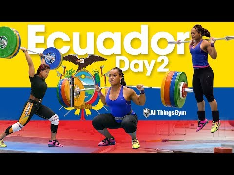 Team Ecuador Training Hall Day 2 at Junior Worlds 2017 Squats, Clean & Jerk Complexes, Snatches
