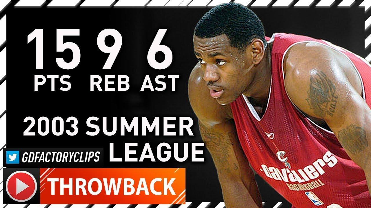 super popular f368d 45755 Rookie LeBron James Full Summer League Highlights vs Hawks (2003.07.18) -  15 Pts, 9 Reb, 6 Ast