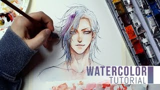 [WATERCOLOR TUTORIAL] - Coloring a face in anime style
