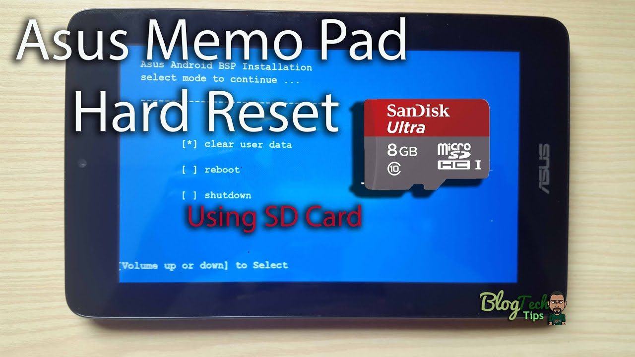Asus Memo Pad hard reset with MicroSD card (When button cominations Fail)