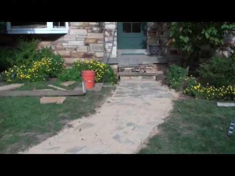 flagstone walkway repair video youtube