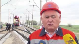 Впервые при строительстве ж/д путей Казахстана используются отечественные рельсы(, 2016-04-19T05:03:24.000Z)