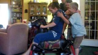 Kids on rocking horse