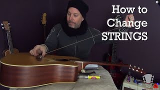 how to change strings on a takamine acoustic guitar