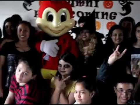 Jollibee at EMCEF halloween costume party picture taking