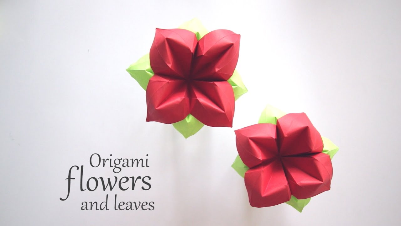 Origami flower and leaves youtube origami flower and leaves mightylinksfo Gallery