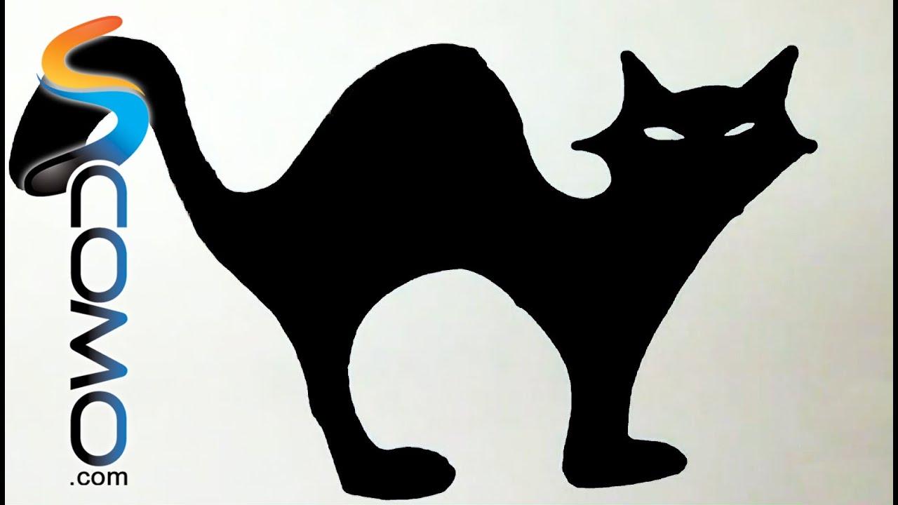 Silueta de un gato negro para Halloween - Silhouette of a black cat ...