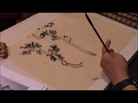 How to painting tree leaves in traditional Chinese landscape painting with Prof Yang Yuanwei