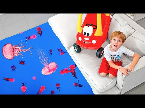 Eli catch Fish with Fishing Toys and learn about real Jellyfish